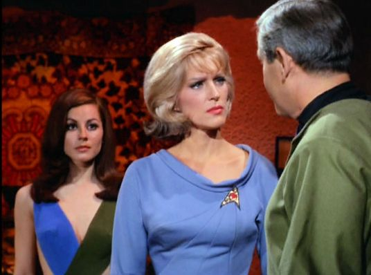 Image from Star Trek episode What Are Little Girls Made Of showing Andrea, Chapel, and Korby