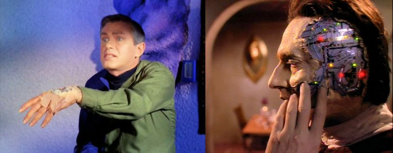 Left: Image from Star Trek episode What Are Little Girls Made Of showing Korby with damaged hand; Right: Image from Star Trek: The Next Generation showing Data with damaged face