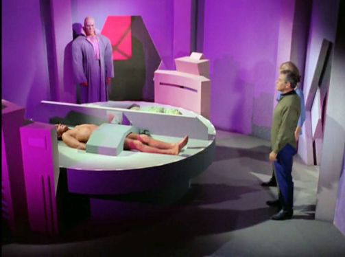 Image from Star Trek episode What Are Little Girls Made Of showing Ruk, Kirk, Korby, and Chapel