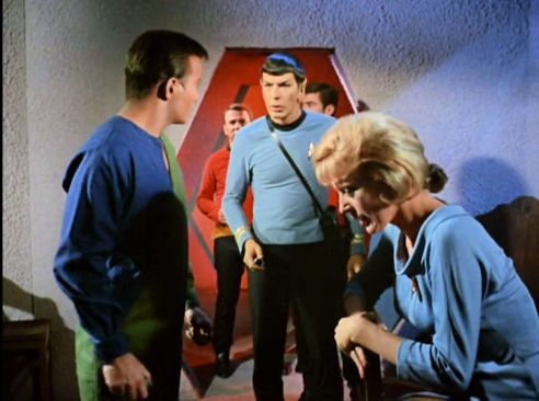 Image from Star Trek episode What Are Little Girls Made Of showing Kirk, Spock, and Chapel