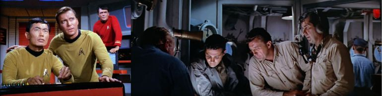 Image from Star Trek episode Balance of Terror (left) showing Sulu, Kirk, and Scott on bridge; image from movie The Enemy Below (right) showing Robert Mitchum and supporting cast members on bridge of naval vessel