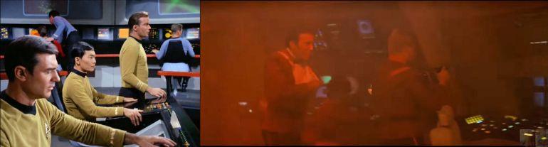 Kirk walking bridge of the Enterprise in Star Trek episode Balance of Terror (left) and Star Trek II: The Wrath of Khan (right)