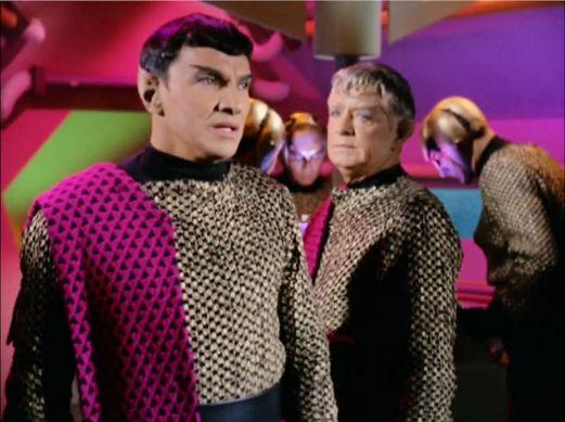 Image from Star Trek episode Balance of Terror showing Romulan commander and friend on bridge of Bird-of-Prey