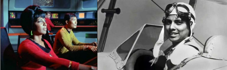 Left: Image from Star Trek episode Balance of Terror showing Uhuru and Sulu at helm; Right: Photo of Willa Brown in airplane cockpit