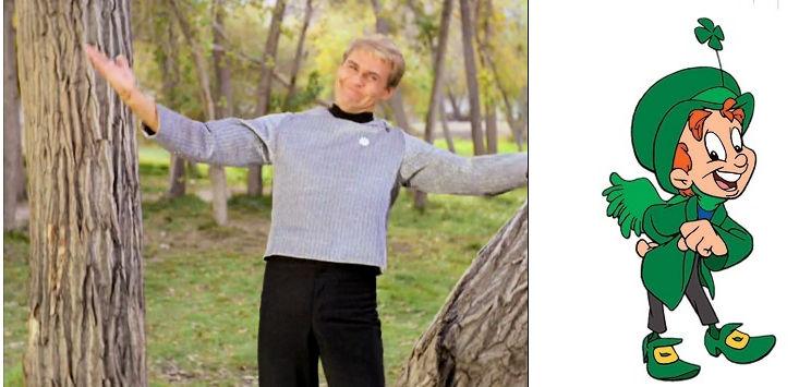 Finnegan from Star Trek episode Shore Leave (left), leprechaun mascot for Lucky Charms cereal (right)