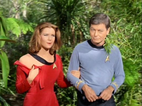 Image from Star Trek episode Shore Leave with Barrows (left) and McCoy (right) on shore leave planet