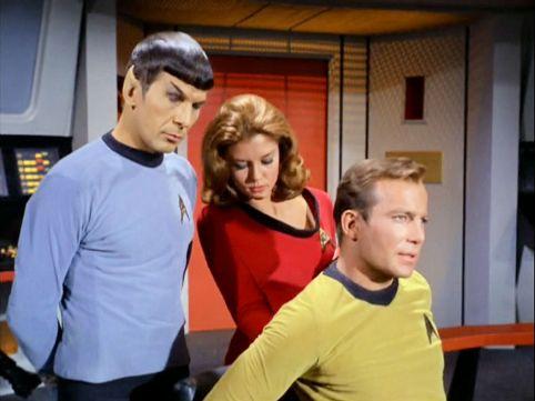 Image from Star Trek episode Shore Leave of Spock, Barrows, and Kirk on Enterprise bridge