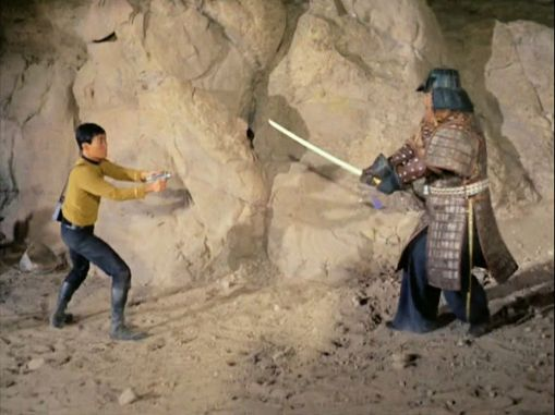 Image from Star Trek episode Shore Leave of Sulu confronting a samurai
