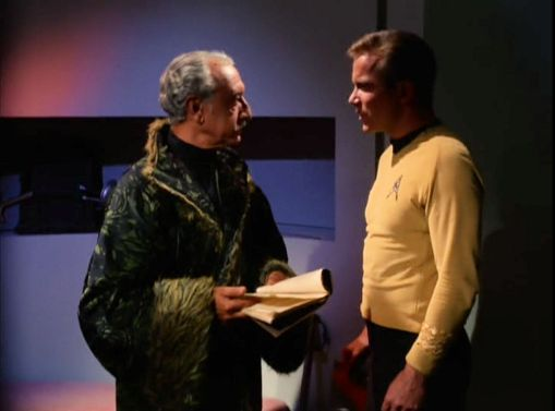 Image from Star Trek episode The Conscience of the King showing Karidian and Kirk