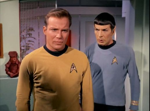 Image from Star Trek episode The Conscience of the King showing Kirk and Spock in Kirk's quarters