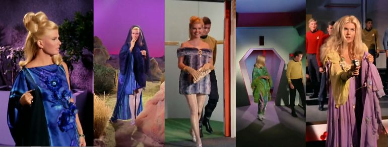 Images from Star Trek episode The Conscience of the King showing Lenore in various eccentric wardrobes