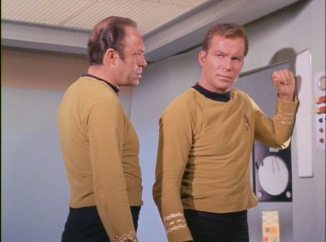 Image from Star Trek episode The Menagerie showing Mendez and Kirk on shuttle