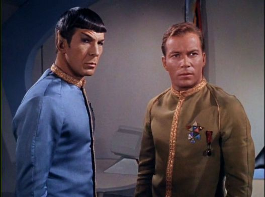 Image from Star Trek episode The Menagerie showing Spock and Kirk in dress uniforms