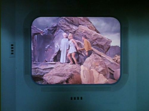 Image from Star Trek episode The Menagerie, showing Vina and Pike on Talos IV with the Keeper