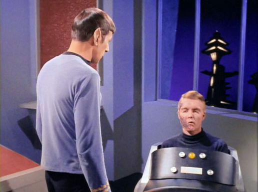 Image from Star Trek episode The Menagerie showing Spock and Pike
