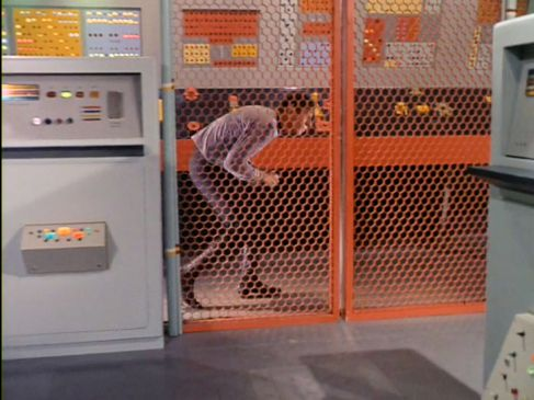 Image from Star Trek episode The Menagerie showing Spock walking in a stooped position on Starbase 11