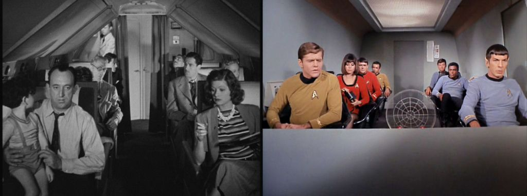 Image of passengers from 1939 film Five Came Back (left), image of 7 crew members from the Star Trek episode The Galileo Seven (right)