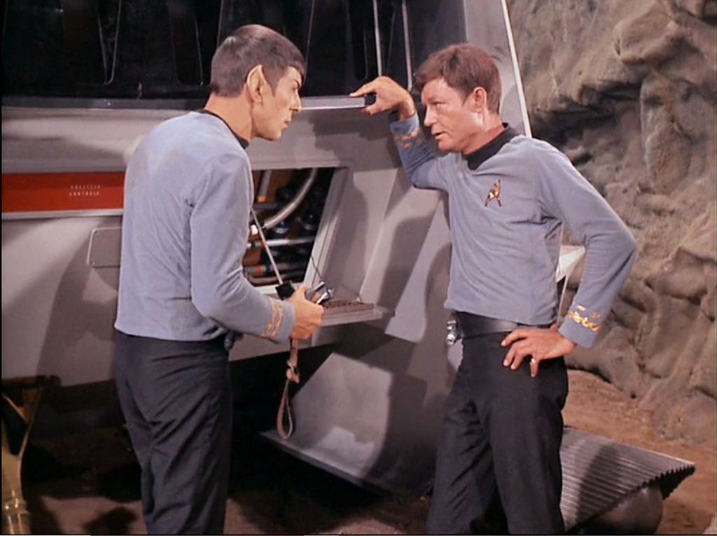 Image from Star Trek episode The Galileo Seven with Spock and McCoy arguing
