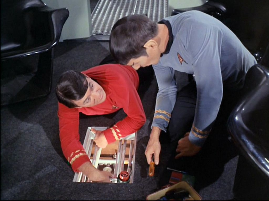 Image from Star Trek episode The Galileo Seven showing Scott and Spock working in shuttle craft