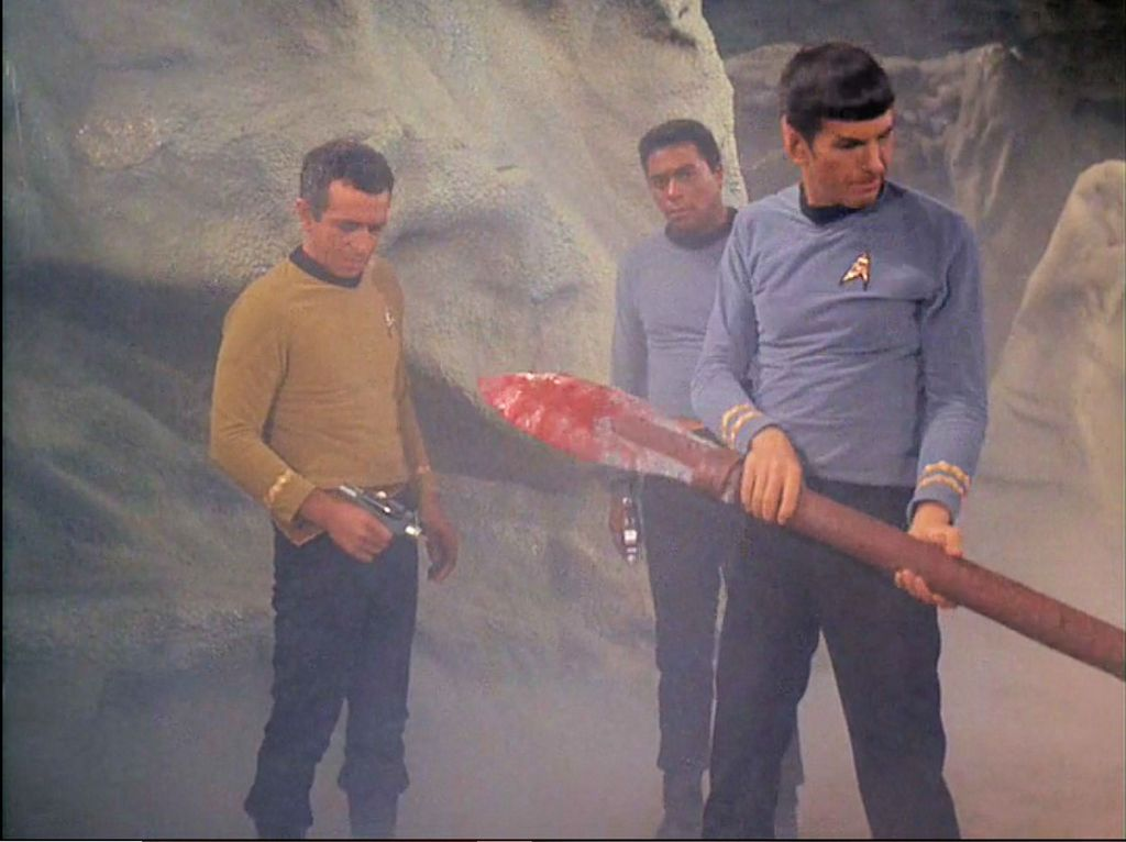 Image from Star Trek episode The Galileo Seven showing Gaetano, Boma, and Spock on alien planet