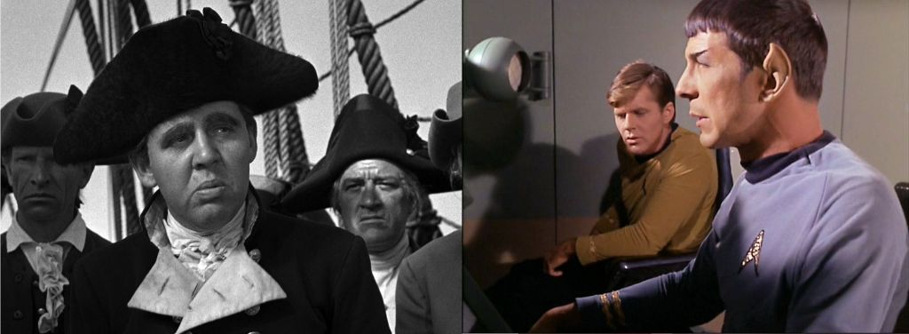Left: Image of Charles Laughton from the movie Mutiny on the Bounty (1935), Right: Image of Spock and a crew member from Star Trek episode The Galileo Seven