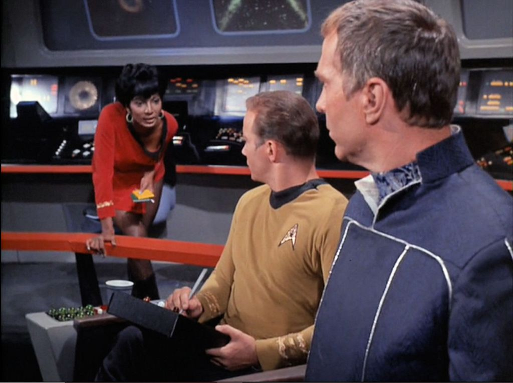 Image from Star Trek episode The Galileo Seven with (left to right) Uhuru, Kirk, and Ferris on bridge of Enterprise